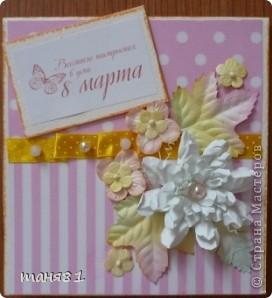 Доброго времени суток! А у меня продолжение открыточек.  В этих открыточках испо,льзовала цветы сделанные по МК https://stranamasterov.ru/node/321021?c=favorite  Светланы Б. За Мк ей огромное спасибо!!! фото 1