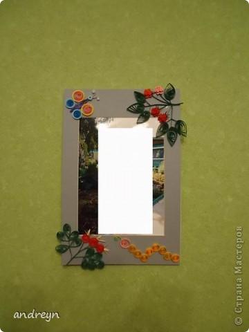 Здравствуйте. Такие рамки получаются из паспарту.   Паспарту подходит по нескольким причинам: недорого (мал. 30, средн. 60), материал (картон) , малый вес, широкие края (есть где развернуться), и ... а почему бы нет?  Материал: Бумага для квиллинга и бумага для принтера цветная, картон, ПВА, липучки.   Рамка 1 фото 2