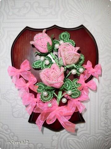 Картина панно рисунок Бисероплетение розовые розы Бисер.