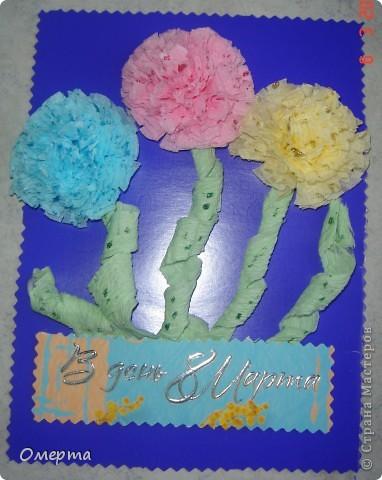 Вот такие открытки приготовили с дочкой(5 лет) на 8 марта бабушкам.Основа-2-х сторонний картон, сверху наклеены вырезки от открыток ненужных+наклеили стразики. фото 3