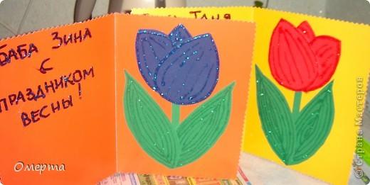 Вот такие открытки приготовили с дочкой(5 лет) на 8 марта бабушкам.Основа-2-х сторонний картон, сверху наклеены вырезки от открыток ненужных+наклеили стразики. фото 2