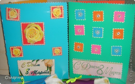 Вот такие открытки приготовили с дочкой(5 лет) на 8 марта бабушкам.Основа-2-х сторонний картон, сверху наклеены вырезки от открыток ненужных+наклеили стразики. фото 1