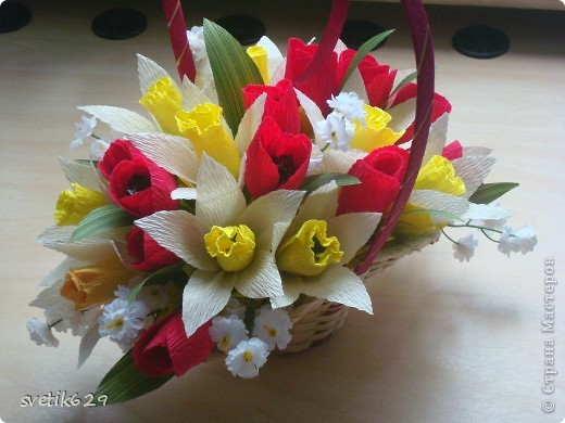 Вот мои весенние корзиночки делая их решила поделится с вами мастерством создания этих весенних цветов) фото 13