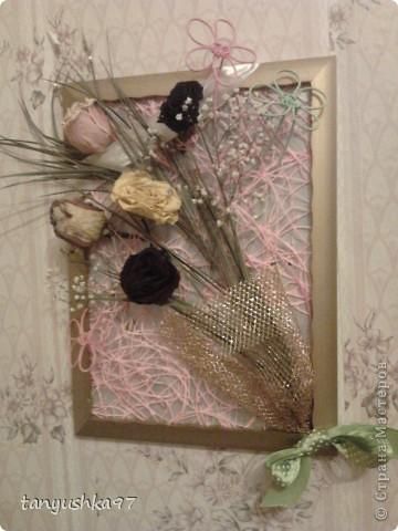 Здравствуйте! Хочу вам показать как я сделала картину из засохших цветов. фото 8
