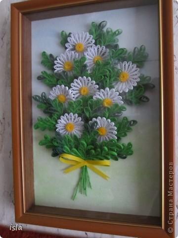 У Ольги К есть очень красивая картина с ромашками. Захотелось сотворить что-то подобное. Картину подарила свекрови на день рождения. фото 1