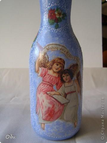Добрый вечер, жители СМ! Всех  мастериц с наступающим праздником! Желаю всем хорошего настроения, море цветов и улыбок! А, я, к вам со своими работами. Я всегда опаздываю с работами, бутылочки для святой воды надо было готовить для крещения, а я к восьмому марта. Все дело в моей маме, которая всегда отказывается от подарков, а вот бутылка для святой воды ей пригодится. Сделала три, может еще кому понадобится. фото 8