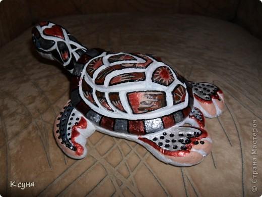 Вот такая черепаха получилась у меня..настрадалась она,да и я,аж жуть..Перекрашивала её три раза..и сейчас не довольна результатом,но уже не знаю,мучить её или оставить,как есть.. фото 3