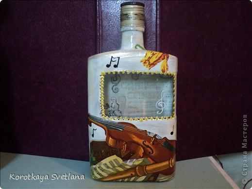Вот такая бутылочка сделалась для себя на 8 марта.  фото 11