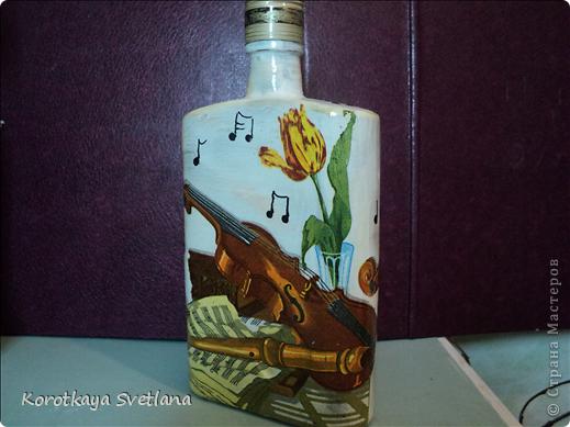 Вот такая бутылочка сделалась для себя на 8 марта.  фото 13