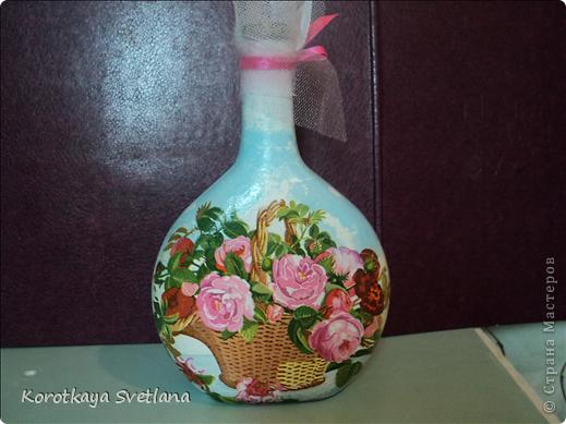 Вот такая бутылочка сделалась для себя на 8 марта.  фото 6