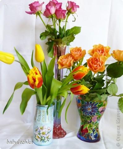 Розы в витражной вазе-очень красиво! фото 6