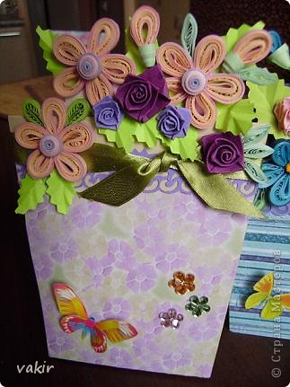 """К празднику для подруг """"вырастила"""" такие цветы в горшочках. У нас в СМ немало емсть подобных работ. МК таких открыток (фото и видео) есть на этом сайте: http://www.splitcoaststampers.com/resources/tutorials/flowerpotpocket/  фото 5"""