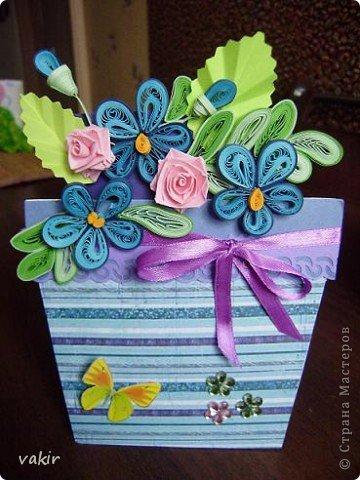 """К празднику для подруг """"вырастила"""" такие цветы в горшочках. У нас в СМ немало емсть подобных работ. МК таких открыток (фото и видео) есть на этом сайте: http://www.splitcoaststampers.com/resources/tutorials/flowerpotpocket/  фото 3"""