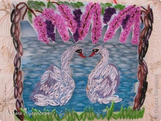 Танцующие лебеди, в арке из глицинии, вид с берега. фото 1