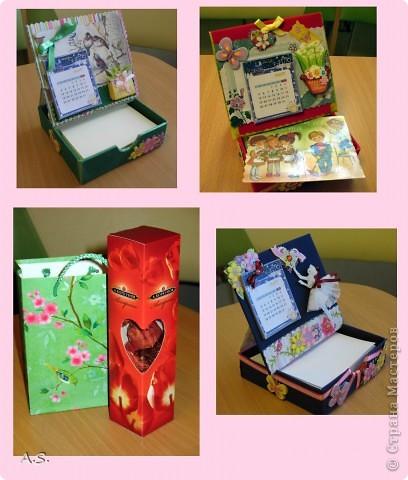 Очень понравилась подставка-календарь от Тинсанна (https://stranamasterov.ru/node/322171#comment-3451905), решили с дочкой учителей порадовать - подарки к празднику сделать. Получилось аляповато, зато по-весеннему - буйство красок:)))  фото 1