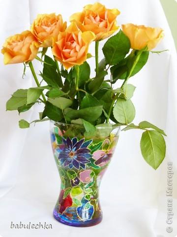 Розы в витражной вазе-очень красиво! фото 1