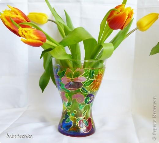 Розы в витражной вазе-очень красиво! фото 2