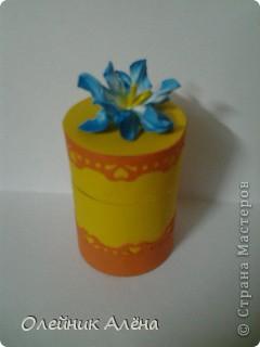 шкатулка сделана из бобины от скотча, цветы сделала сама по МК http://asti-n.ya.ru/replies.xml?item_no=550,  фото 7
