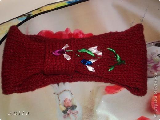 Сочетание вязанной ткани и шёлковых лент