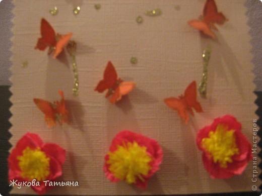 """открытка """"С 8 марта"""" учительнице. Делали недолго- около 2 часов, самое длительное по времени- квиллинговые розы, они из тонкой гофры. фото 6"""