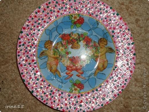 Очень понравилось рисовать солнышко на тарелке.Эту тарелочку делала на заказ для мамы.Она осталась очень довольна. фото 4