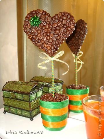 Кофейное сердечко в зелёно-оранжевую кухню ) Сестра осталась довольна таким подарочком )