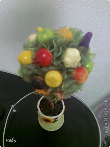 Новенькое деревце. Кухонный вариант. Разные овощи и фрукты, в вазоне чай. фото 3