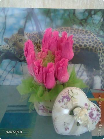 Приветствую Вас мастерицы!!!!!!!!!!!   Мой средний сынуля захотел подарить девочке подарок на 8 марта шкатулку. Ну и как всем мальчишкам,  подросткового возраста, хочется подарить и конфеты и цветы. Я совместила и вот, что получилось: фото 5