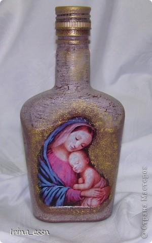 Сделала для очень хорошего человека такую бутылочку. Декупаж выполнен с применением распечаток. Нашла их на просторах интернета. фото 1