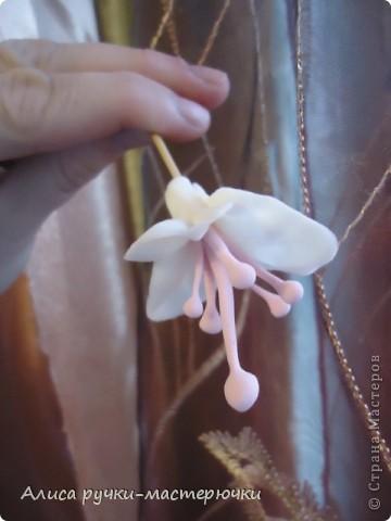 """Всем доброго времени суток! Вот мой маленький М К по цветку фуксии! Для работы я использую """"самоварный""""фарфор. В нашем случае розового(красила я его пищевым красителем,для пасхальных яиц) и белого цвета,зубочистки и клей. фото 7"""