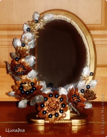 всего-навсего декорированное еловыми шишками зеркальце) и в подарок, и практично)