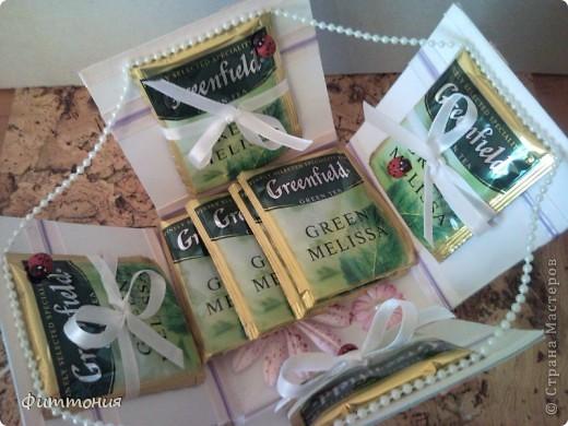 Снова работа не моя. Дочь подарила на  8 Марта. Коробочка с зеленым чаем. Очень понравилось и сама идея, и исполнение. Она всегда делает все очень аккуратно. фото 1