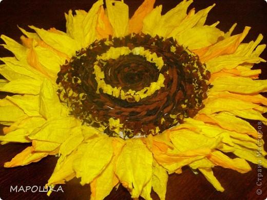 креповая бумага: двух желтых, коричневого, черного, двух зеленых - для листьев и листиков корзинки цветов. Лепестки из скрученных веревочек - я делала отдельные лепестки разного оттенка и из двойного цвета   фото 2