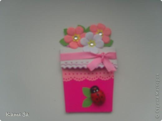 Доброго времени суток, уважаемые жители Страны Мастеров! Вот такую открытку-малютку я подарила маме на 8 марта. :) Для работы я использовала дырокольные листочки, цветочки, тычинки (кстати дырокол-снежинка :)))). фото 2