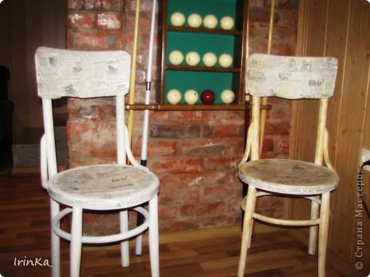 """Здравствуйте дорогие мастерицы!))) Я сегодня хочу показать вам переделаны мною стулья для бильярдной)) Ничего необыкновенного и сказочного в них нет, просто старые вещи в новых """"одежках"""". Мне они нравятся и по стилю вроде бы подходят, а вы как думаете?))) фото 2"""