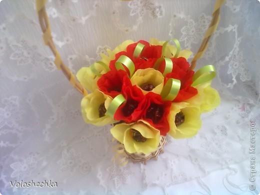 Привет всем моим гостям)  Перед вами еще одна моя работа - весенняя корзинка со сладкими тюльпанами, которую сделала в подарок.  фото 6