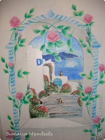 Здравствуйте жители СМ! Я к вам сегодня с росписью двери. Это продолжение моей работы. Арку я сделала ранее. Вид из окна рисовала акриловыми красками. Как получилось судить вам. Желаю приятного просмотра и отличного настроения! фото 2