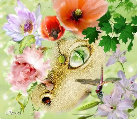 """Обожаю драконов, потому решила поселить одного из них( рукотворного) у себя в мониторе. Вот такой он, мой """"Цветочный дракон""""- любит нюхать цветы и любоваться на насекомых :)"""