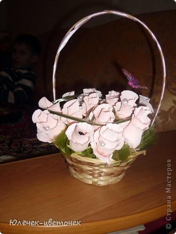 Вот такая корзинка для конфет получилась из ниток) фото 9