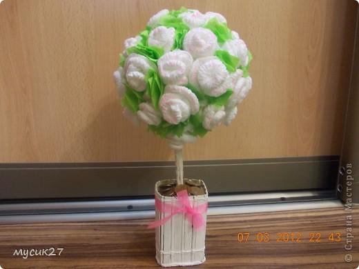 Мой второй топиарий. Розы из салфеток, основа-газетный шар, ствол - 4 бамбуковые палочки, обмотаны салфеткой в ПВА.  фото 1