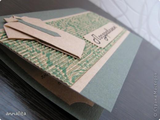 Эту открыточку сделала мужу на День рождение буквально за час. Рубашечку выполнила в технике оригами, а дальше просто подобрала нужную по тону бумагу и все соединила. фото 3