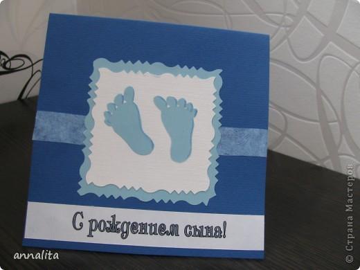 """Мы неожиданно были приглашены в гости, где месяц назад родился мальчик. Захотелось сделать открыточку, но, к сожалению, время поджимало (и своя дочушка, которой и года не было, отвлекала постоянно) Но тем не менее открытка получилась. Как говорят: """"Могло быть и лучше, но хорошо, что не хуже"""":) фото 2"""