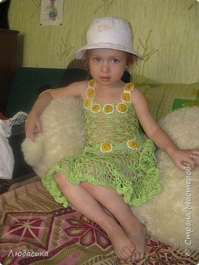 Пляжное платье для доченьки крючком. фото 1