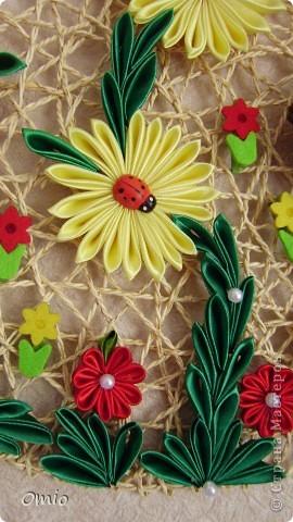 Картина панно рисунок Цумами Канзаши Панно из цветов канзаши Ленты фото 3.