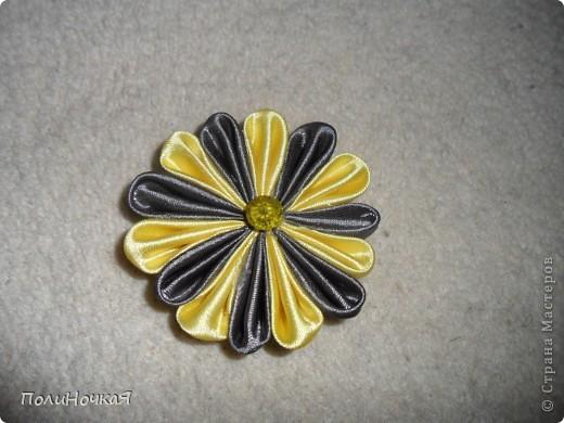 Вот и первая партия моих канзашек. маме очень понравились хризантемы и теперь я каждый день делаю по одной. Вернее только лепесточки , сами цветы собирает мама. Все эти канзаши сделаны за три дня. фото 6