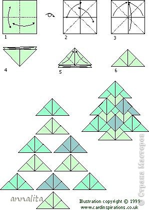 открытка с оригами-ел.