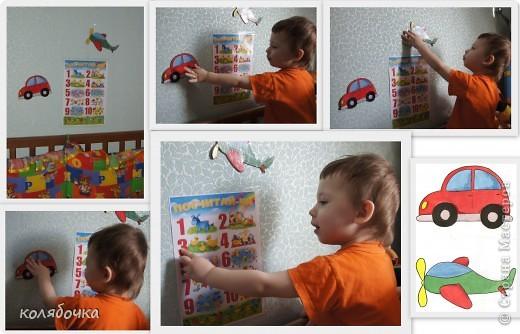 Макс любит машинки и самолётики.Давно у меня была идея сделать ему над кроваткой наклейки из техники.Нарисовала,сверху скотчем оклеила и на картонку приклеила.На стене на двустороннем скотче держится фото 5
