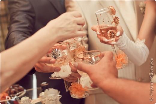 Свадебные бокалы, шампанское фото 2