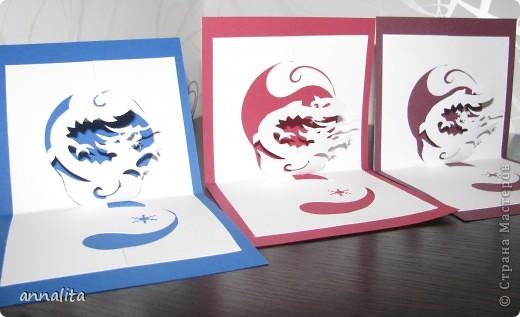 Такие вот открыточки делала к Новому году 2012 фото 2