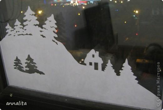 В этом году я наконец-то у себя дома украсила окна к Новому году.  фото 5